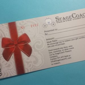 StageCoach Theatre Company gift certificate